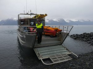 Our water taxi transports the gear to camp